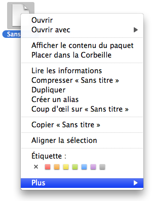 Copie d'écran de Finder
